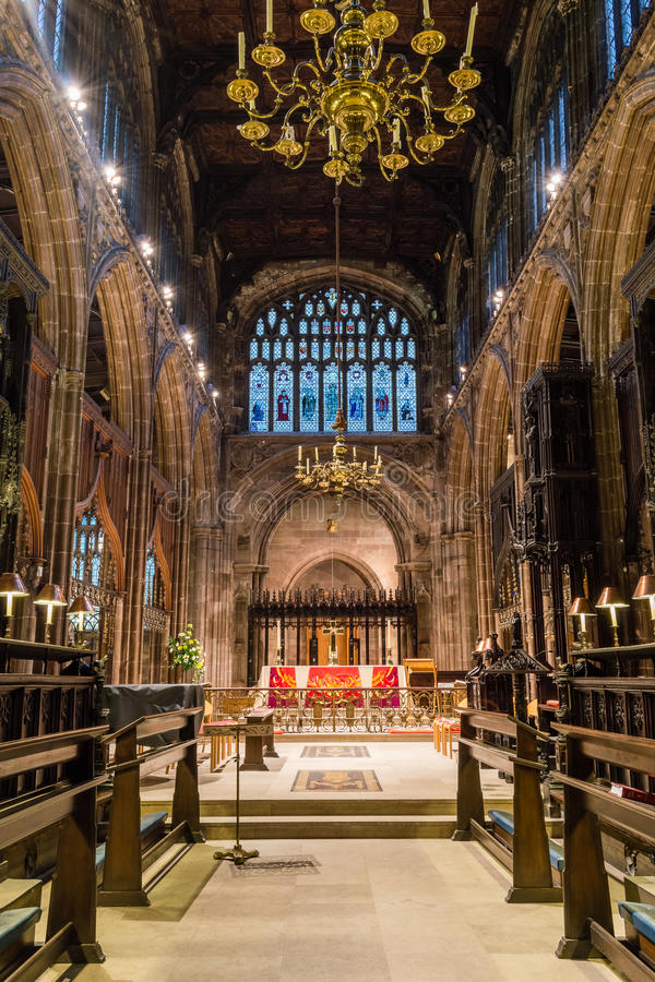 Manchester Cathedral choir. ENGLAND, MANCHESTER - 15 NOV 2015: Manchester Cathedral choir stock images