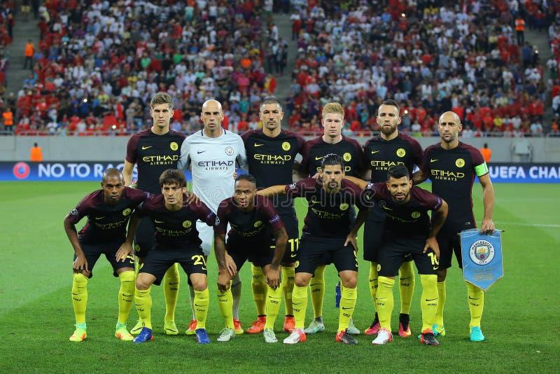 Manchester City - line up royaltyfria bilder