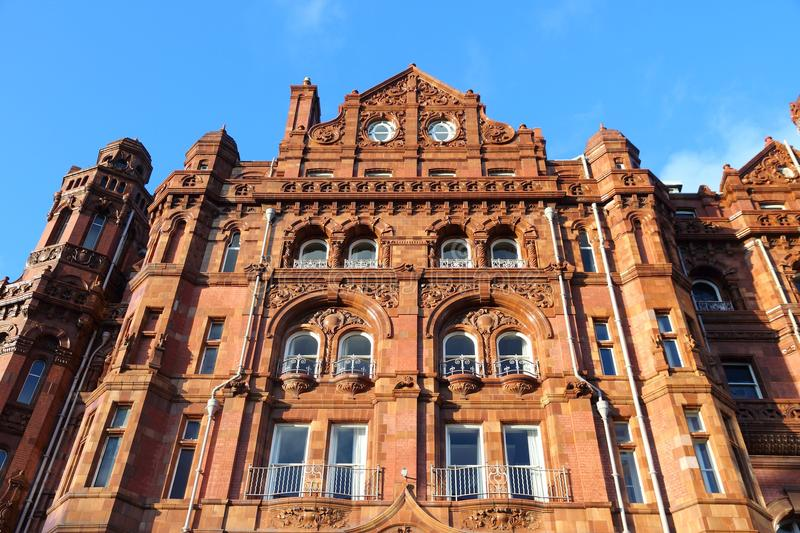 Manchester. City in North West England (UK). Famous hotel built in eclectic Edwardian baroque architecture style. Listed building stock photos