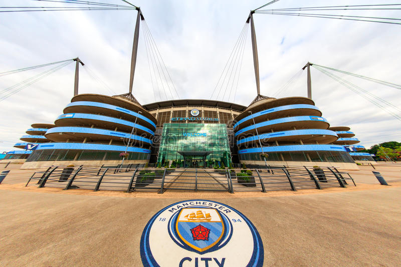 Manchester City stadium. MANCHESTER, UK - AUGUST,14, 2016: Etihad stadium is home to Manchester City English Premier League football club, one of the most stock photo