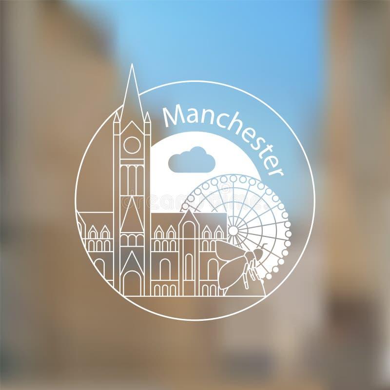 Manchester Engeland, gedetailleerd silhouet In vectorillustratie royalty-vrije illustratie