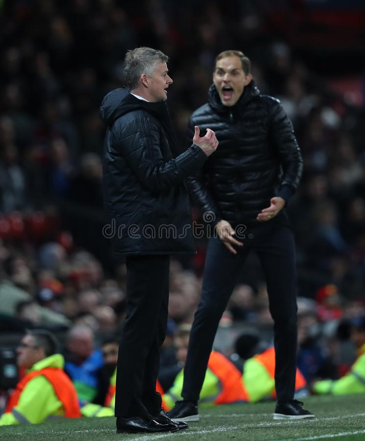 Manchester United v Paris Saint-Germain - UEFA Champions League Round of 16: First Leg. MANCHESTER, ENGLAND - FEBRUARY 12: Ole Gunnar Solskjaer Manager of stock photography