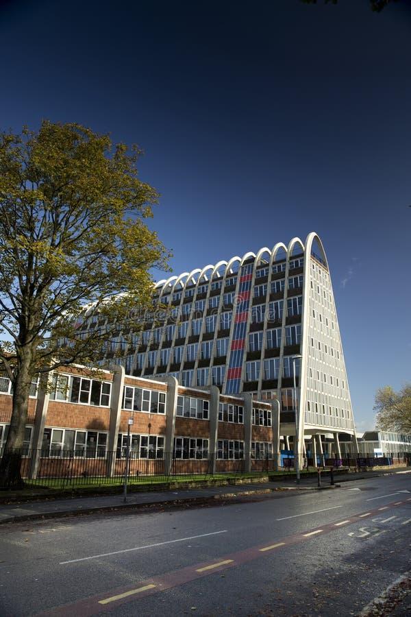 Manchester, Groter Manchester, het UK, Oktober 2013, het beroemde die gebouw als het Toostrek wordt bekend of Hollings-de Bouw royalty-vrije stock foto
