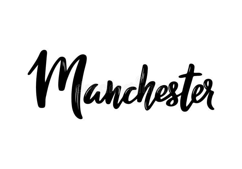 Manchester - hand getrokken het van letters voorzien naam van de stad van het Verenigd Koninkrijk royalty-vrije illustratie