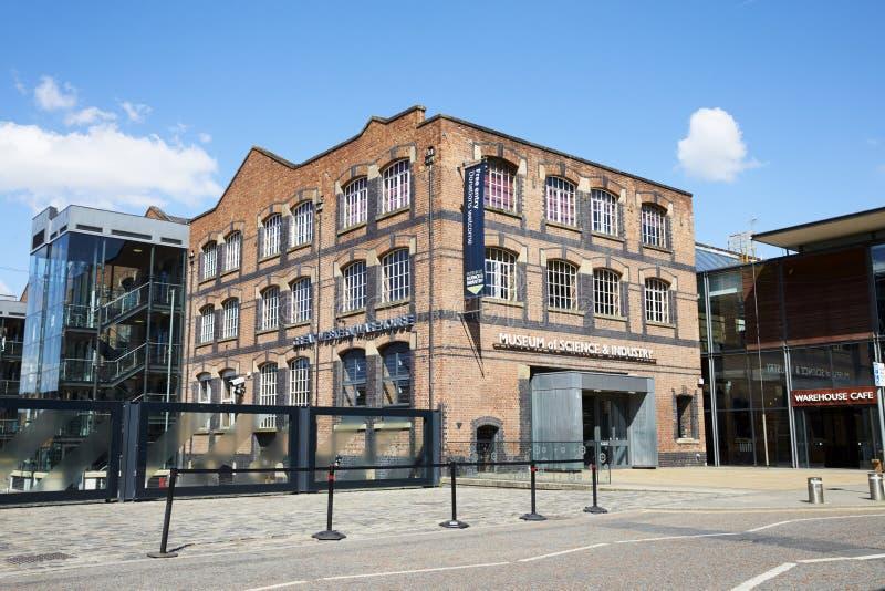 Manchester, het UK - 4 Mei 2017: Buitenkant van het Museum van Manchester van Wetenschap en Industrie royalty-vrije stock afbeeldingen