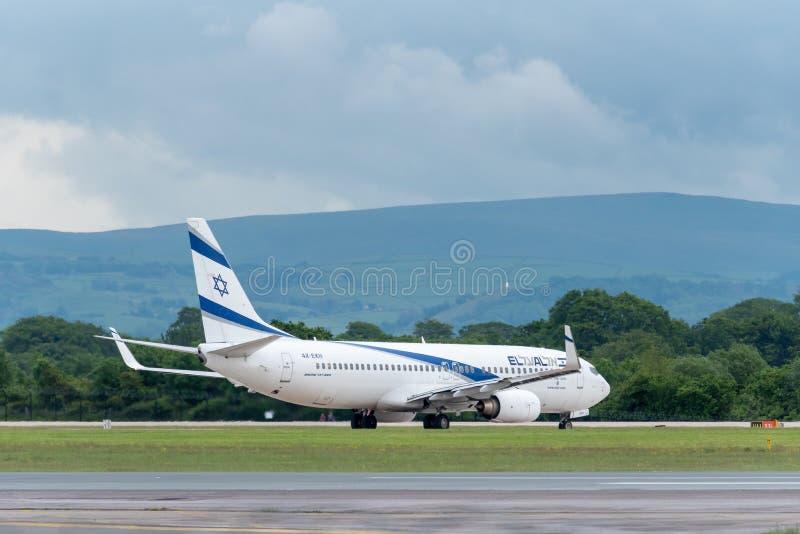 MANCHESTER HET UK, 30 MEI 2019: Gr Al Israel Airlines Boeing 737 vlucht LS804 aan Tel Aviv houdt plotseling van baan 23L in Manch stock fotografie