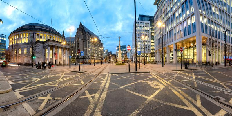 Manchester Library Town Hall UK. To the west of the square is Manchester Central Library, Midland Hotel and Manchester Town Hall Extension. The square is home to stock images