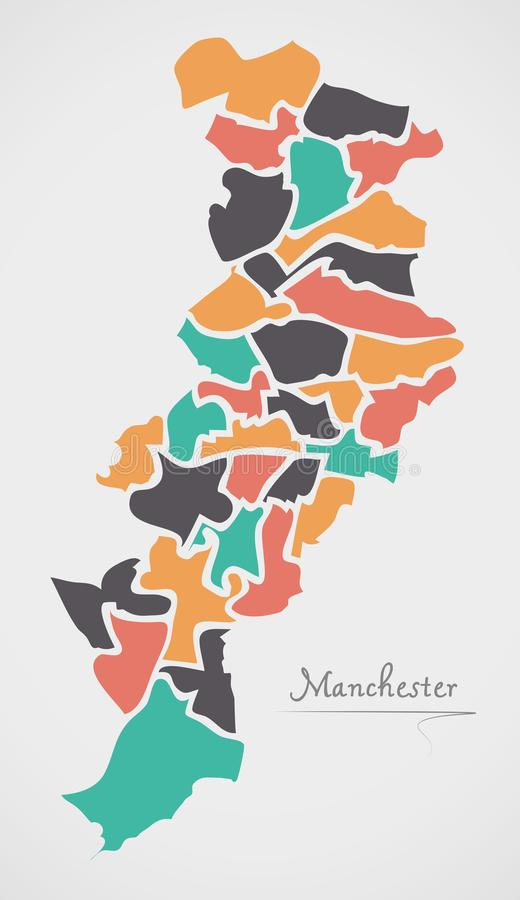 Manchester Map with wards and modern round shapes. Illustration vector illustration