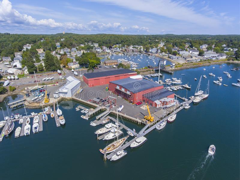 Manchester-by-the-sea, Cape Ann, Massachusetts, USA. Manchester Marine and harbor aerial view, Manchester by the sea, Cape Ann, Massachusetts, USA royalty free stock photo