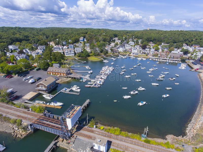 Manchester-by-the-sea, Cape Ann, Massachusetts, USA. Manchester Marine and harbor aerial view, Manchester by the sea, Cape Ann, Massachusetts, USA royalty free stock image