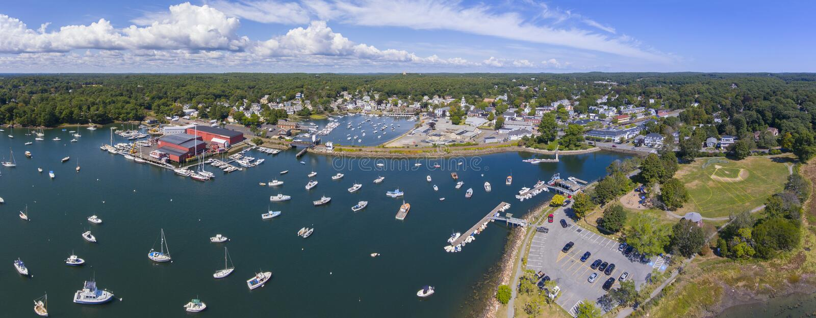 Manchester-by-the-sea, Cape Ann, Massachusetts, USA. Manchester Marine and harbor aerial view panorama, Manchester by the sea, Cape Ann, Massachusetts, USA royalty free stock photography