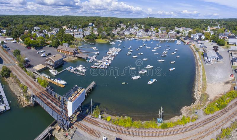 Manchester-by-the-sea, Cape Ann, Massachusetts, USA. Manchester Marine and harbor aerial view panorama, Manchester by the sea, Cape Ann, Massachusetts, USA stock image