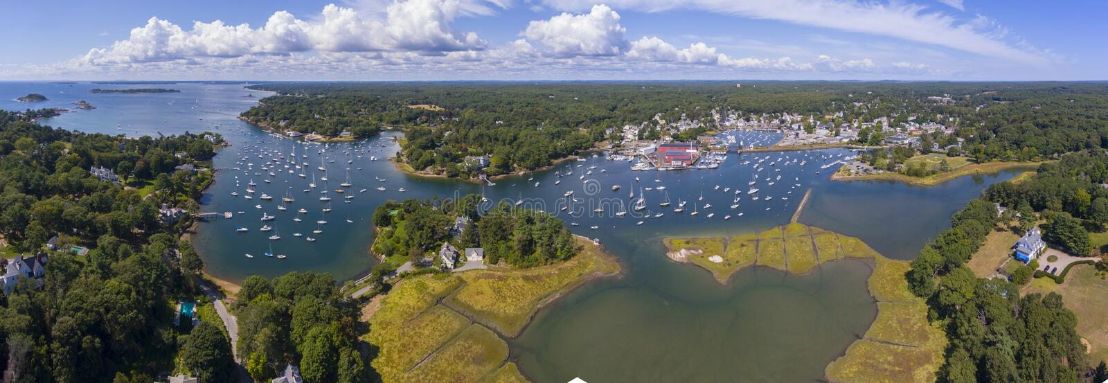 Manchester-by-the-sea, Cape Ann, Massachusetts, USA. Manchester Marine and harbor aerial view panorama, Manchester by the sea, Cape Ann, Massachusetts, USA royalty free stock image