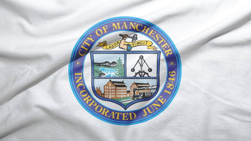 Manchester of New Hampshire of United States flag background. Manchester of New Hampshire of United States flag on the fabric texture background royalty free illustration