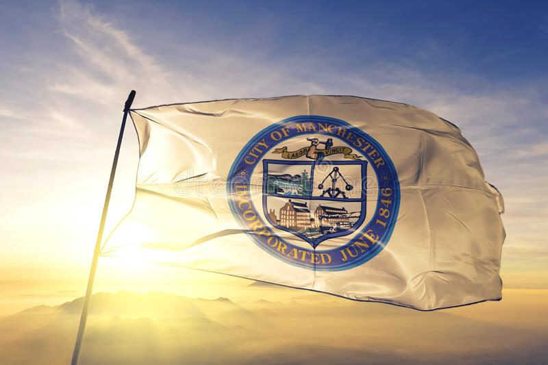 Manchester of New Hampshire of United States flag waving on the top. Manchester of New Hampshire of United States flag waving royalty free stock images