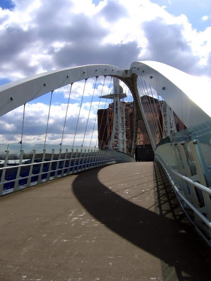 Manchester nowoczesnego nabrzeże mostu zdjęcie stock