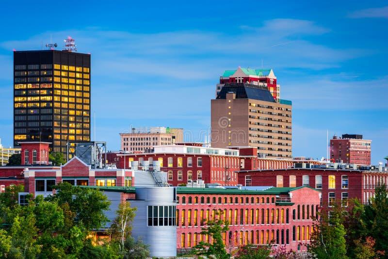 Manchester, orizzonte di New Hampshire fotografia stock