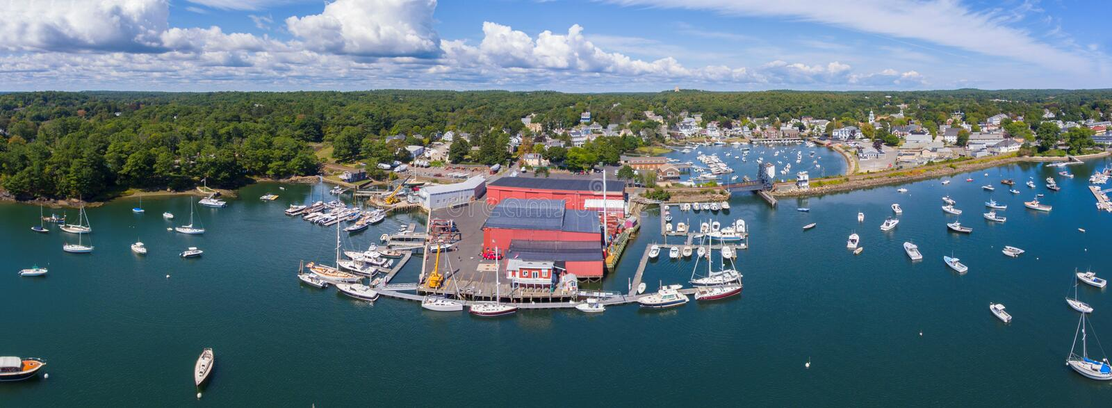 Manchester-by-the-sea, Cape Ann, Massachusetts, USA. Manchester Marine and harbor aerial view panorama, Manchester by the sea, Cape Ann, Massachusetts, USA royalty free stock images