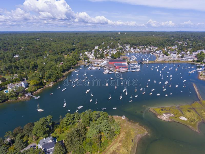 Manchester-by-the-sea, Cape Ann, Massachusetts, USA. Manchester Marine and harbor aerial view, Manchester by the sea, Cape Ann, Massachusetts, USA stock image