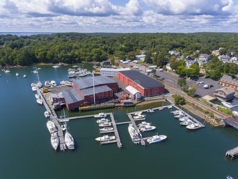 Manchester-by-the-sea, Cape Ann, Massachusetts, USA. Manchester Marine and harbor aerial view, Manchester by the sea, Cape Ann, Massachusetts, USA stock photo