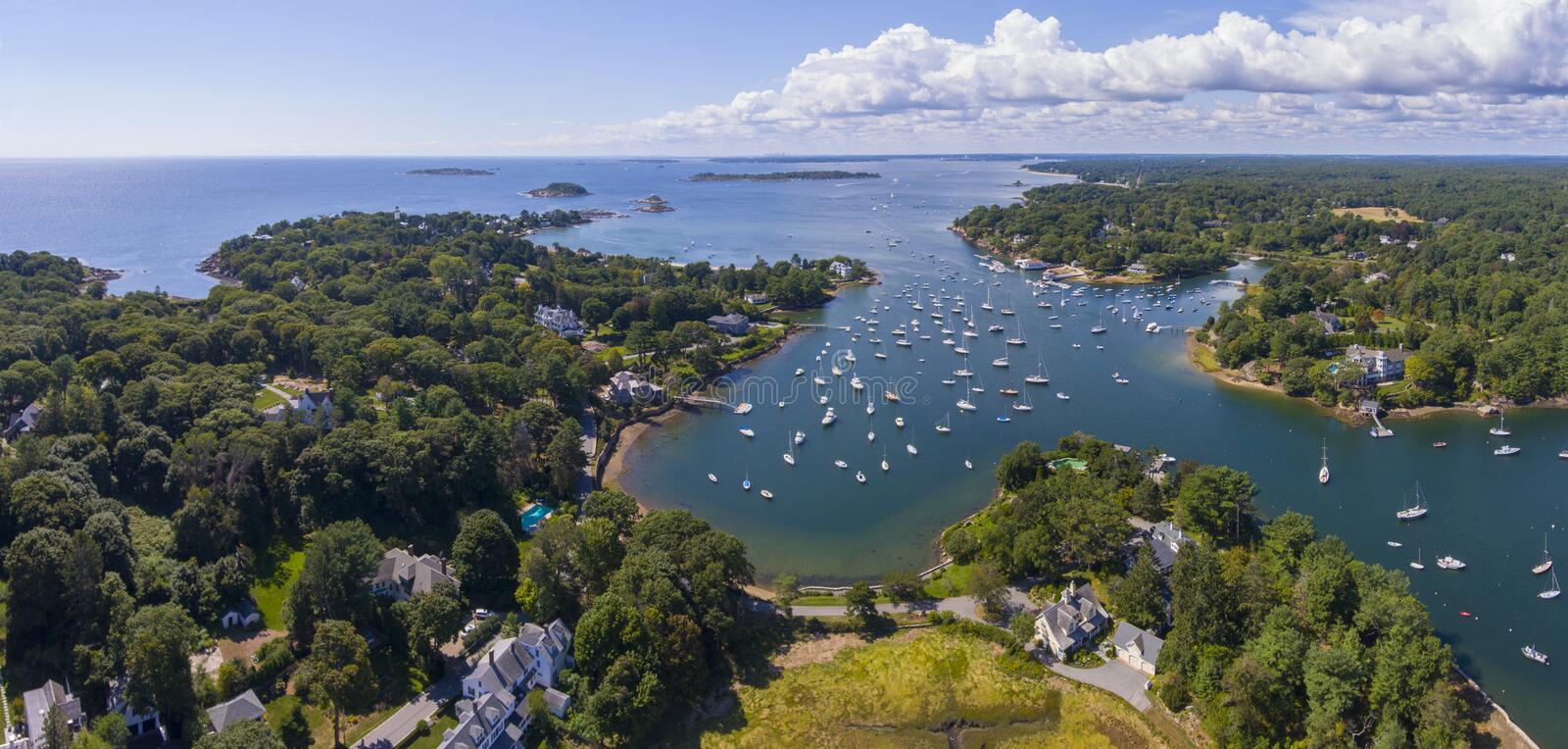 Manchester-by-the-sea, Cape Ann, Massachusetts, USA. Manchester Marine and harbor aerial view panorama, Manchester by the sea, Cape Ann, Massachusetts, USA royalty free stock photo