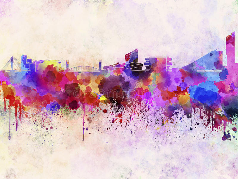 Manchester-Skyline im Aquarellhintergrund