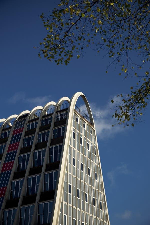 Manchester, st?rre Manchester, UK, Oktober 2013, den ber?mda byggnaden som ?r bekant som rostat br?dkuggen, eller Hollings byggna arkivfoto