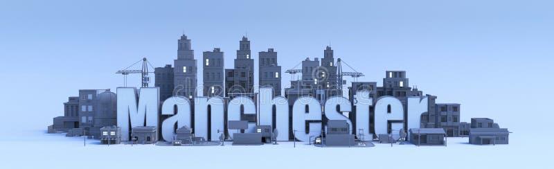 Manchester, stad in 3d geeft terug vector illustratie