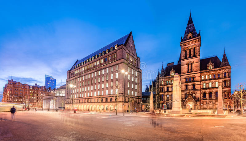 Manchester town hall England. The old and new town hall buildings in the city centre of Manchester, England royalty free stock image