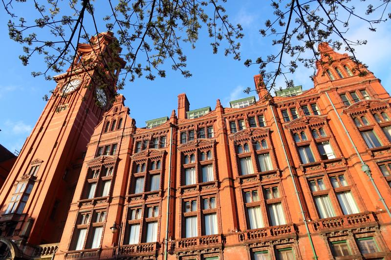 Manchester UK. City landmarks. Refuge Building. Grade II listed monument made from red brick and terracotta stock photography