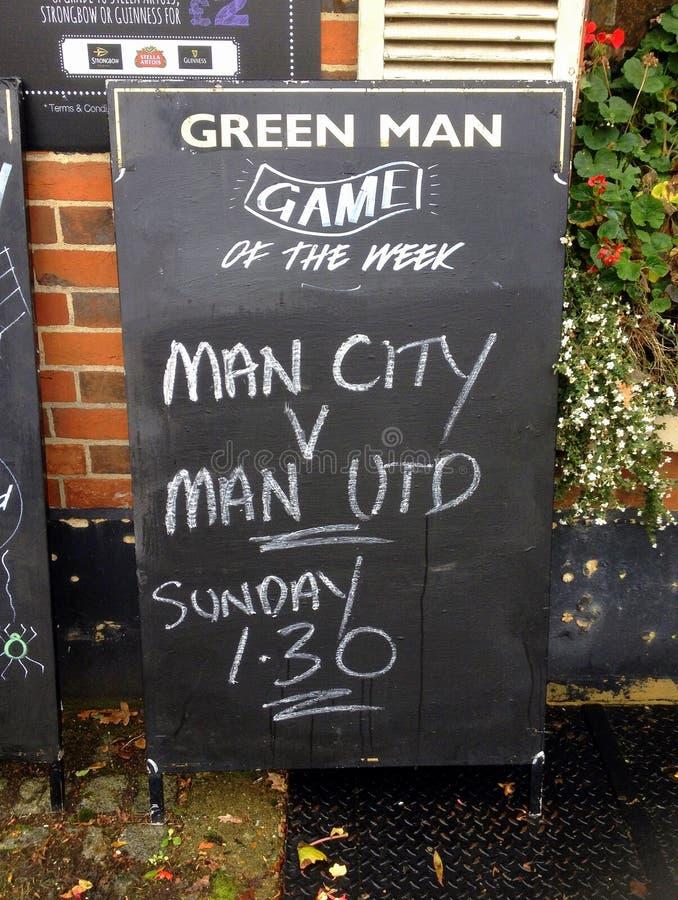 Manchester United εναντίον της πόλης του Μάντσεστερ στοκ φωτογραφία με δικαίωμα ελεύθερης χρήσης