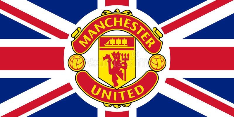 Manchester United emblemat na Union Jack ilustracja wektor