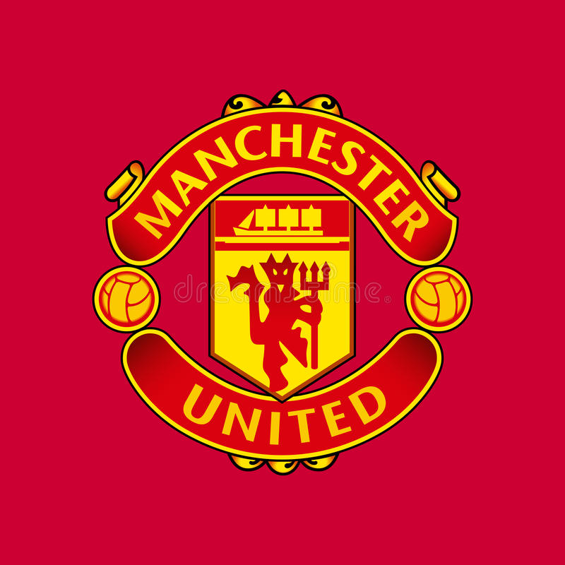 Manchester United F.C. Manchester, England Feb 22, 2017: Vector illustration of Manchester United F.C. logo on red background