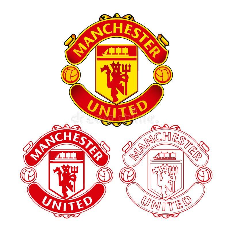 Manchester United F C Logo mit flachem Design und Skizze auf weißem Hintergrund lizenzfreie stockbilder