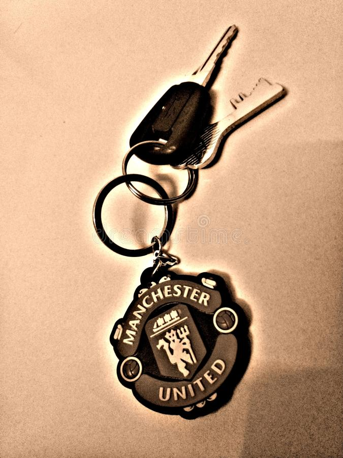 Manchester United keychain. Keychain Man utd pic royalty free stock photography