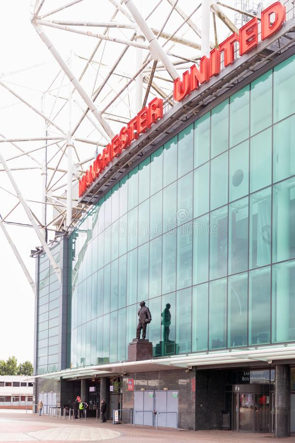 Manchester, United Kingdom: 26 July 2017: Famous Manchester Unit. Ed Old Trafford football club stadium royalty free stock image