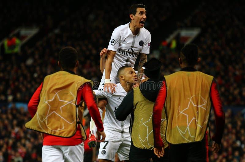 Manchester United v Paris Saint-Germain - UEFA Champions League Round of 16: First Leg. MANCHESTER, ENGLAND - FEBRUARY 12: Kylian Mbappe of PSG celebrates royalty free stock photos