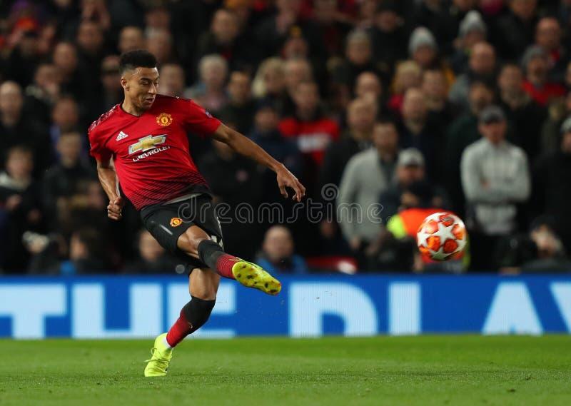Manchester United v Paris Saint Germain - uefa champions league 16 Round: Pierwszy noga obraz royalty free