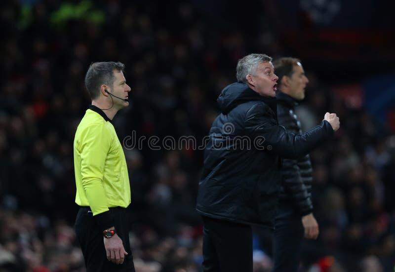 Manchester United v Paris Saint Germain - uefa champions league 16 Round: Pierwszy noga obrazy royalty free