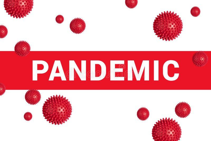 Manchete vermelho com PANDEMIC em branco com modelo abstrato de estirpe do vírus Covid- 19 foto de stock royalty free