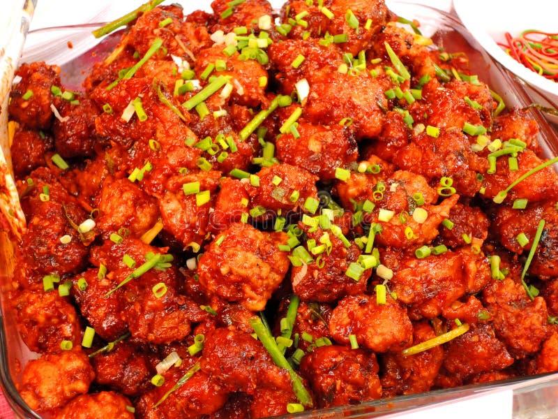 Manchurian piccante del pollo immagine stock