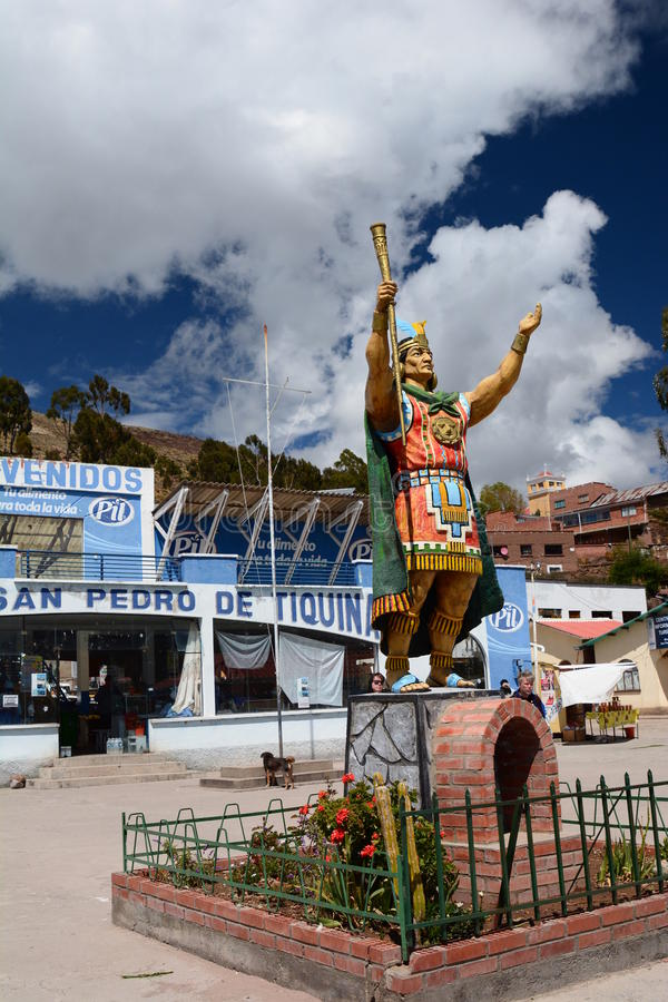 Manco Capac雕象 Tiquina海峡  de pedro ・圣tiquina 湖Titicaca 流星锤 免版税图库摄影