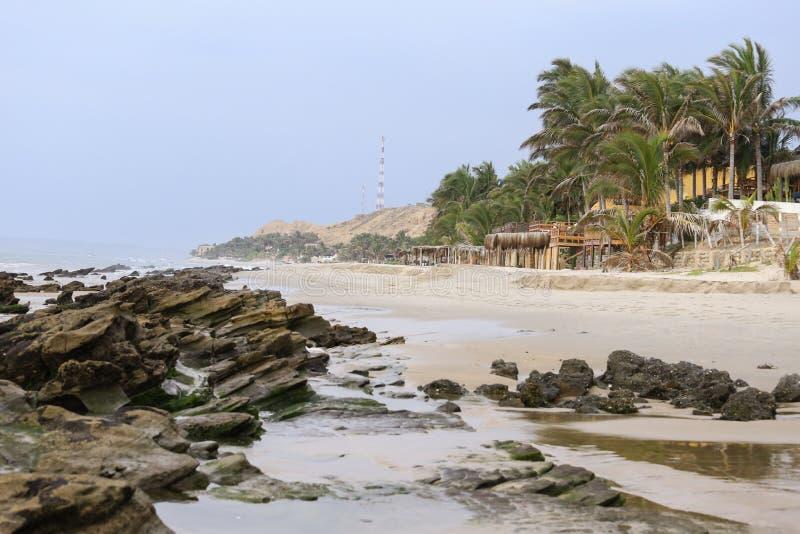 Mancora plaży zmierzch fotografia stock