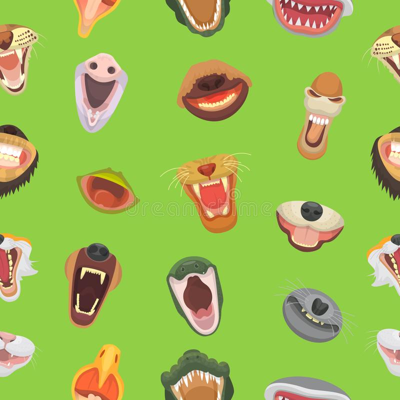 Mandíbula abierto del vector de la boca de los animales con los dientes o los colmillos de los animales oso enojado del león del  stock de ilustración