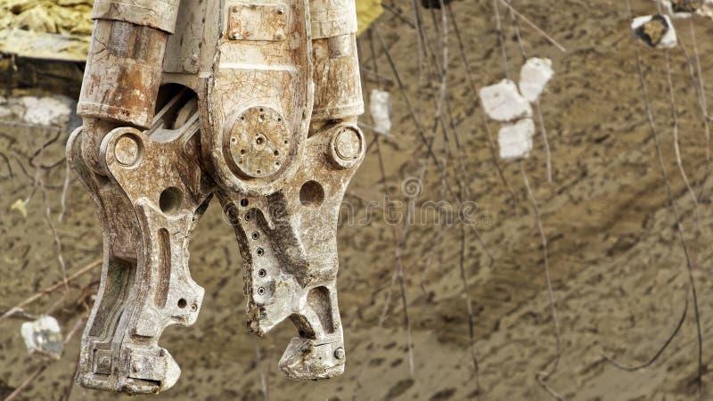 Mandíbulas concretos del pulverizador de la demolición fotografía de archivo libre de regalías