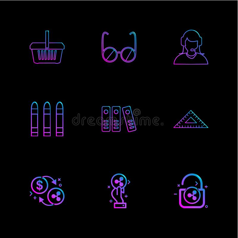 mand, glazen, werknemer, kogels, dossiers, meetkunde, muntstukken stock illustratie