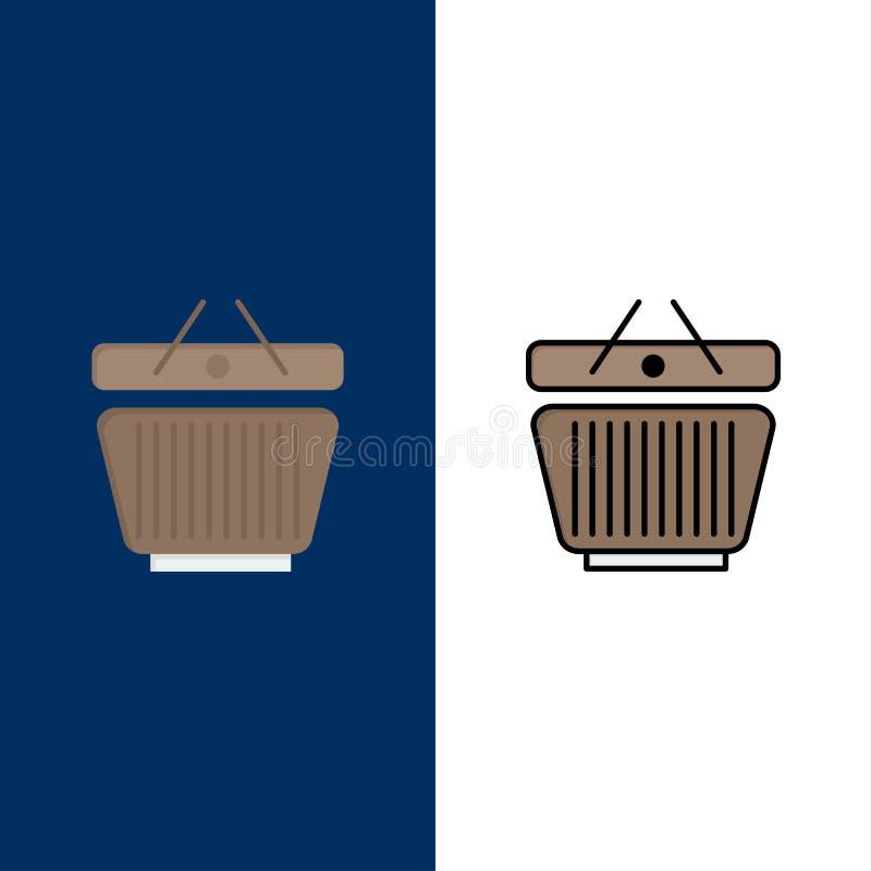Mand, Kleinhandel, het Winkelen, Karpictogrammen Vlak en Lijn vulde Pictogram Vastgestelde Vector Blauwe Achtergrond royalty-vrije illustratie