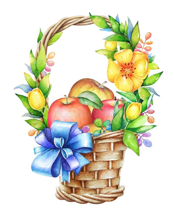 Mand met blauw lint, gele bloemen en appelen vector illustratie