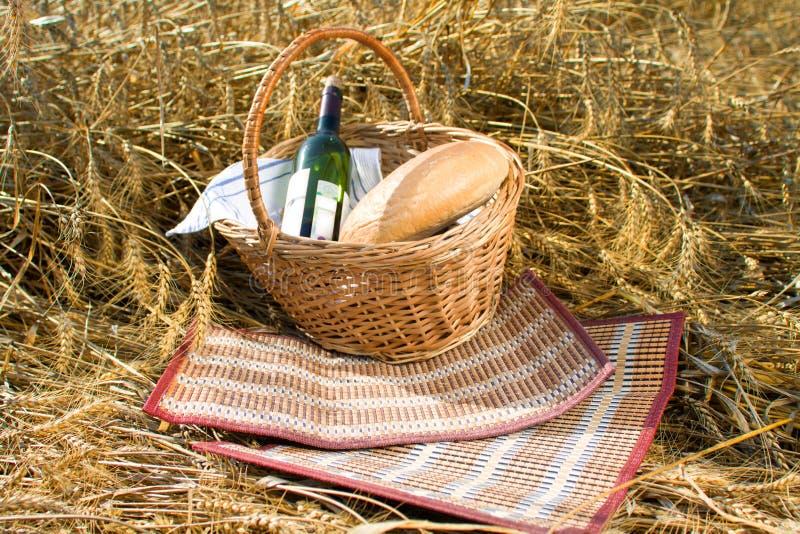Mand met brood, voedsel en wijnfles stock fotografie