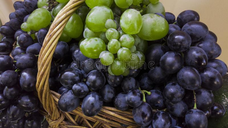 Mand van druiven en wijnstok met groene bladeren royalty-vrije stock fotografie